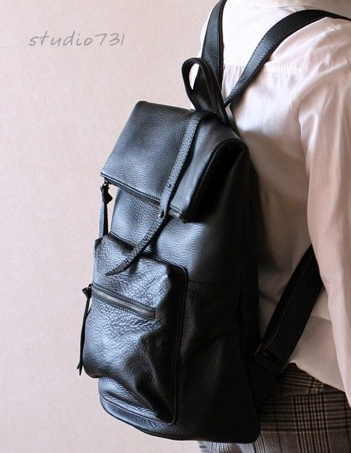 Square Shape Leather Backpack Black by studio731 on Etsy