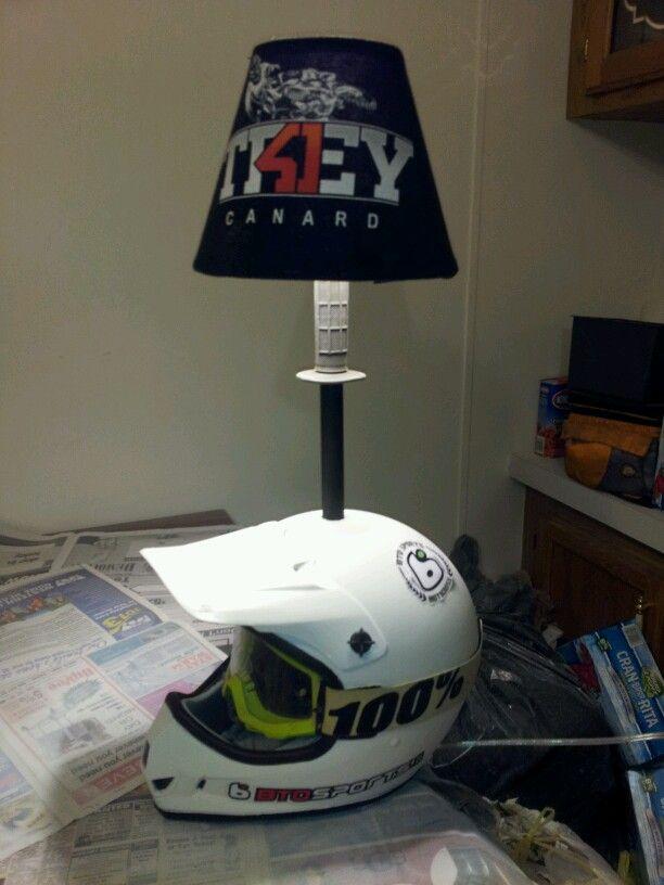 Motorcross Helmet Lamp Finally Done Motorcross Helmetcreative Lampsmotocross Bedroomhelmetsdirtbikeskids