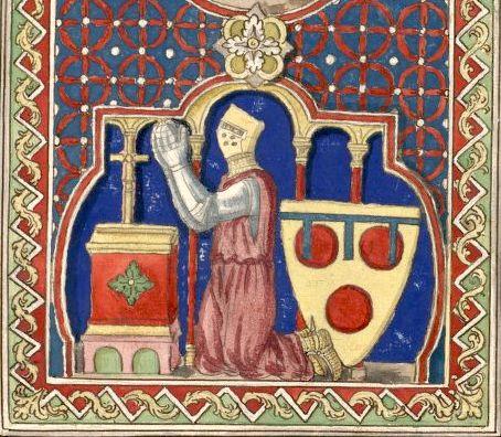 Pierre de Courtenay, sgr de Conches, †1250. Dessin d'un vitrail de N.-D. de Chartres (Gaignières 99) -- «Pierre de Courtenay Sgr de Couches, Mehun, Selles & Chasteau Renard. Il étoit fils de Robert de Courtenay Sgr de Champignelles…, second fils de Pierre de France Sgr de Courtenay, dernier des fils du [Roy] Louis le Gros.… [Pierre de Courtenay]… mourut en Egypte… le 8 Fevrier 1250. Il epousa Perrenelle de Joigny, dont il n'eut qu'Amicie de Courtenay femme de Robert 2 comte d'Artois en…