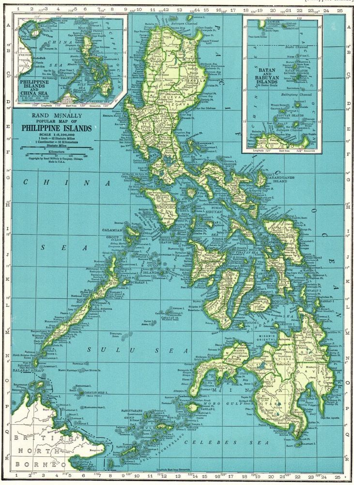 1942 Antique PHILIPPINES Map Vintage Map of the Philippine Islands ...