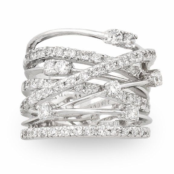 JanKuo Jewelry Silver Tone Cubic Zirconia Wide Band Cocktail Ring