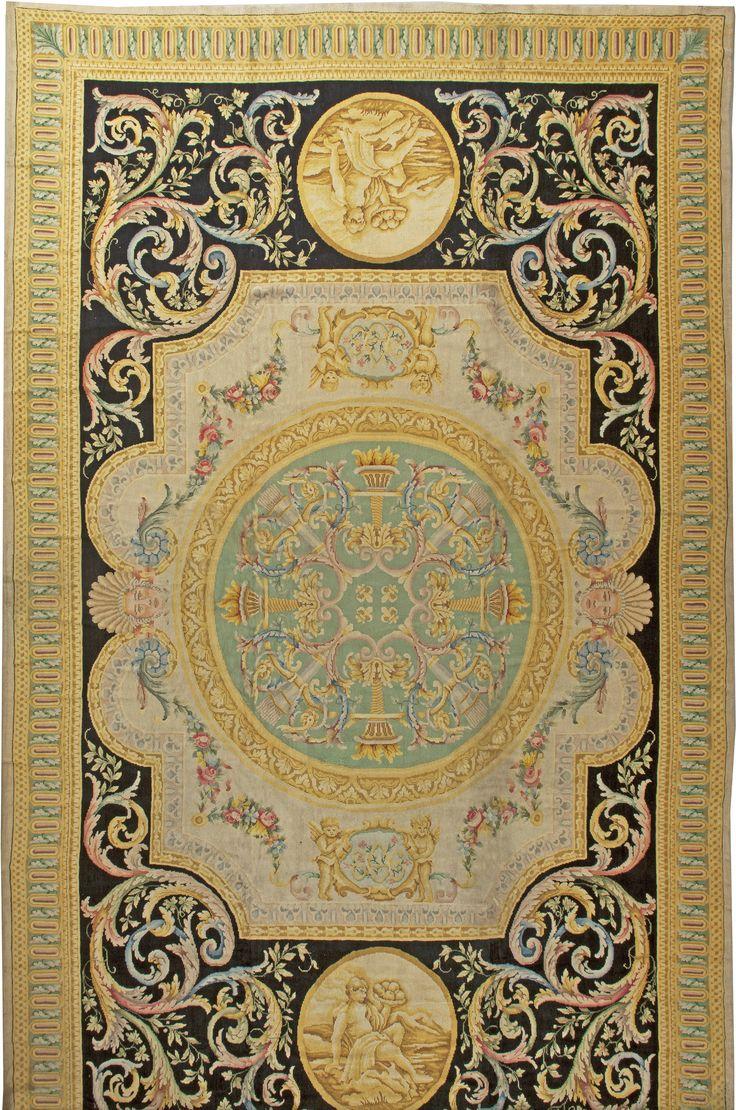 Vintage Rugs: Vintage Rug Spanish for modern or oriental interior decor living room, rug with floral botanical pattern