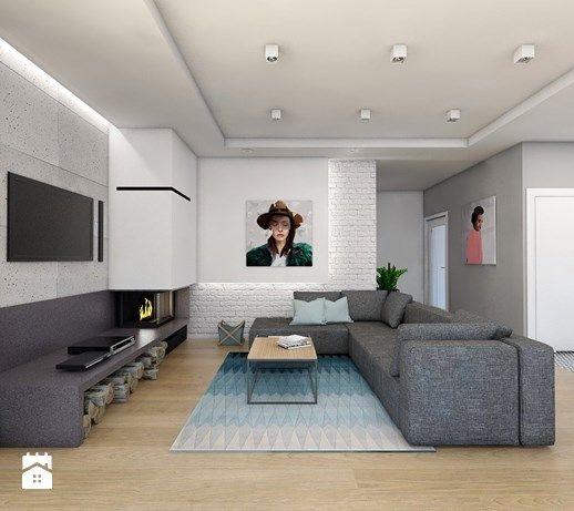 Projekt domu jednorodzinnego 8 - Średni salon z jadalnią, styl skandynawski…