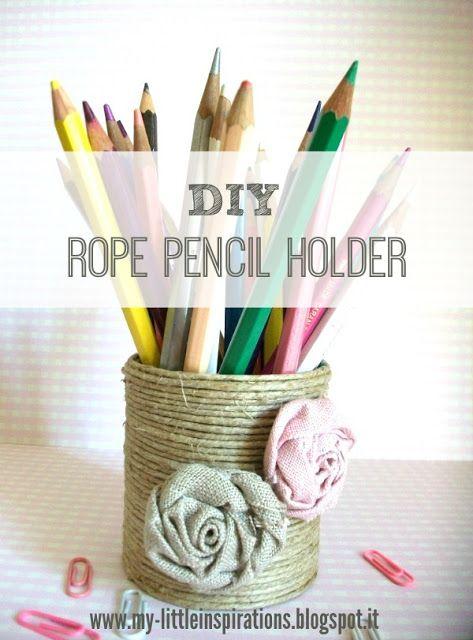 Rope Pencil Holder Tutorial by My Little Inspirations #handmadebacktoschool2016 #thecreativefactory #backtoschool
