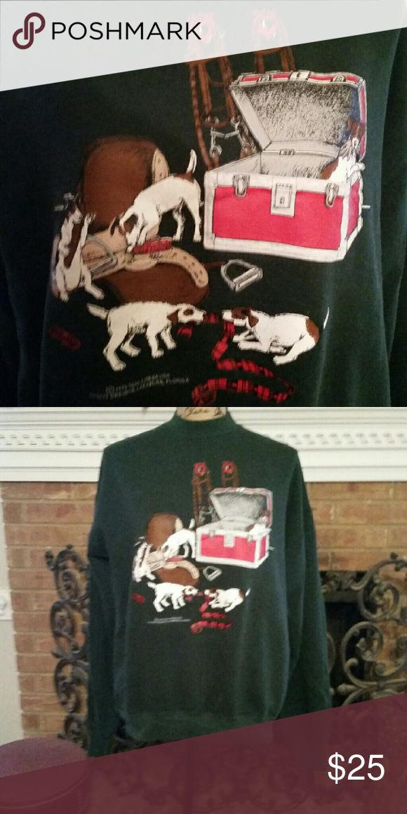 Equestrian themed sweatshirt It's Jack Russell trouble in the tack room displayed on this adorable sweatshirt.  The Jacks are in the tack trunk,  playing tug of war with the polos, and generally doing what Jacks do. TROUBLE!  ;) Tops Sweatshirts & Hoodies