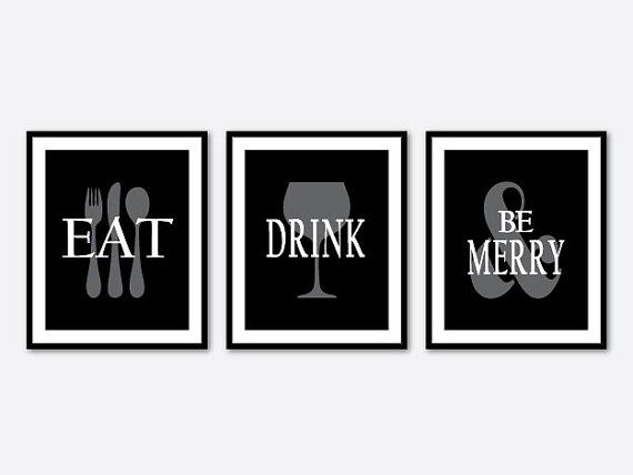 Eat drink and be merry inspirational wall art set of three prints kitchen decor quote typography word art kitchen wall art