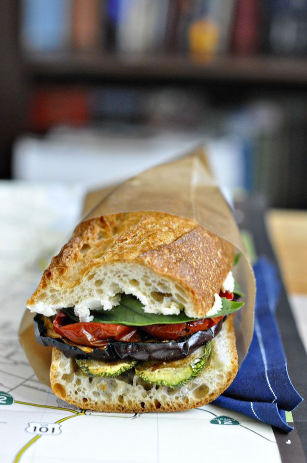 Grilled Eggplant & Zucchini Sandwich with Oven-Dried Tomatoes