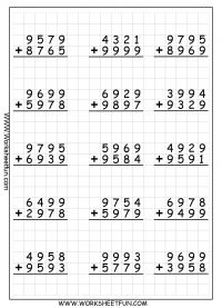 4 Digit Addition With Regrouping – Carrying – 9 Worksheets