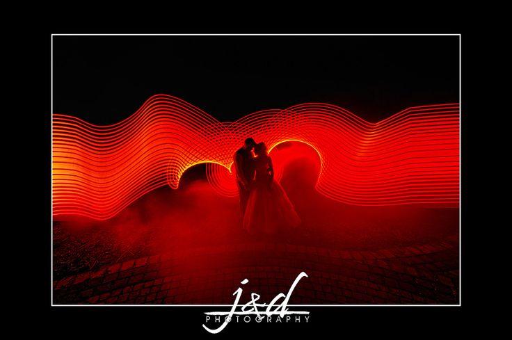 Wedding photo light painting