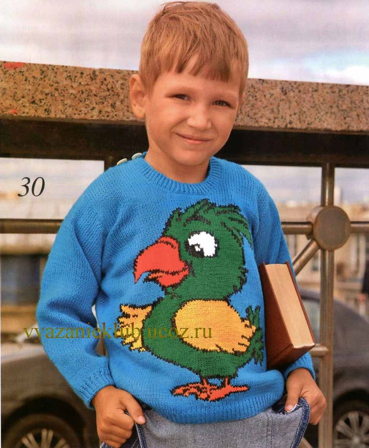 """Пуловер с """"Попугаем"""" для мальчика 5 лет - Для мальчиков  - Каталог файлов - Вязание для детей"""