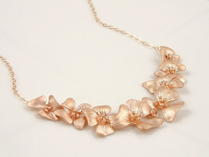 Statement Necklaces – Rose Gold Orchid Flower Statement Necklace – a unique product by Crystalshadow on DaWanda