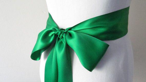 Emerald Green Ribbon Sash / Double Faced by SQaccessoriesUnltd