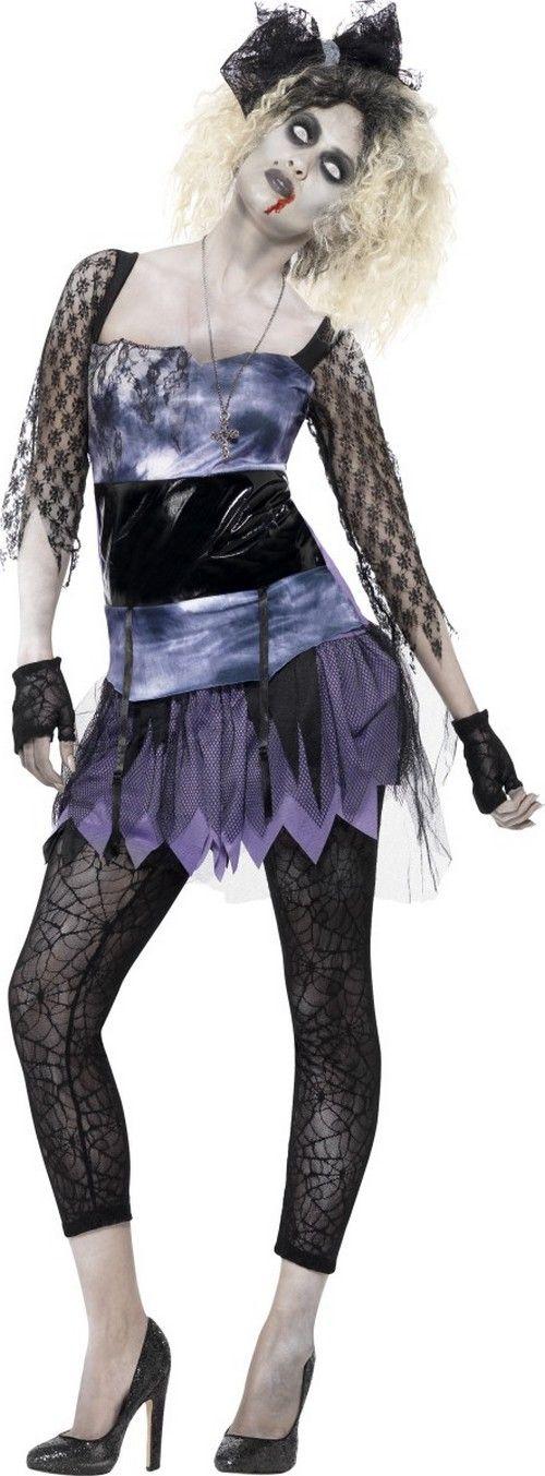 Déguisement zombie star années 80 femme Halloween : Ce déguisement de zombie pour femme se compose d'une robe, d'un legging, d'un collier, de gants et de deux barrettes pour cheveux.La robe violette effet satiné est courte....
