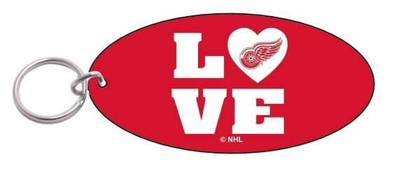 NHL WinCraft Detroit Red Wings Oval Love Keychain