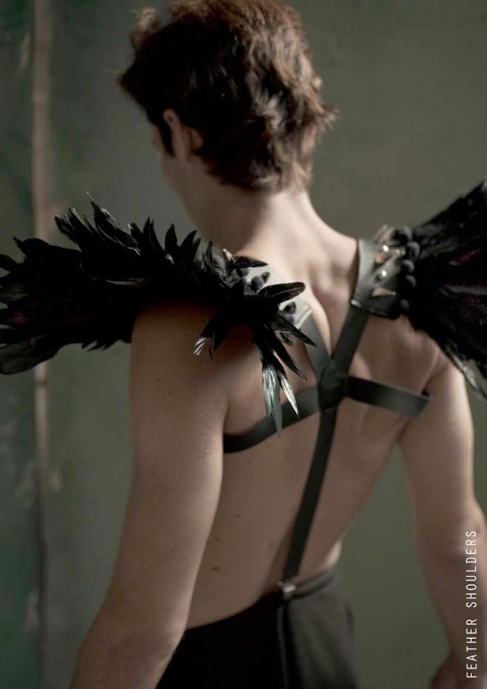 I missed the cape trend so I'm gunning on leather feather harnesses.