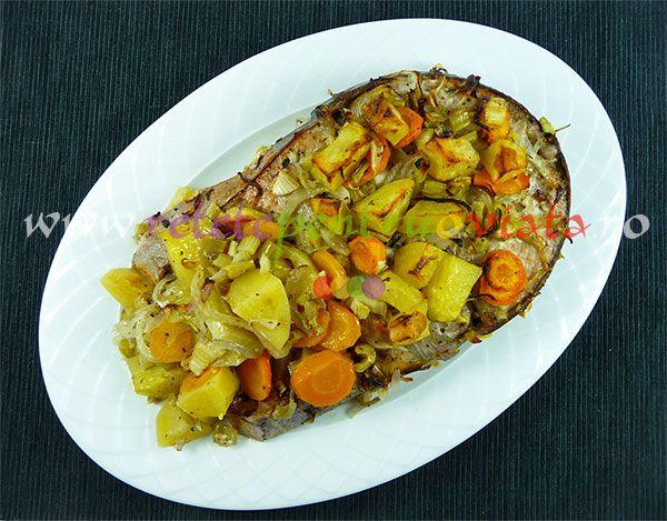 #Reteta de peste cu legume la cuptor - ton, platica, macrou sau alt peste cu cartofi, telina, morcovi, ceapa, usturoi si un sos delicos!