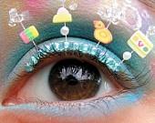 Bubble Bath Eyelash Jewelry - false eyelashes with rubber ducks and soap suds