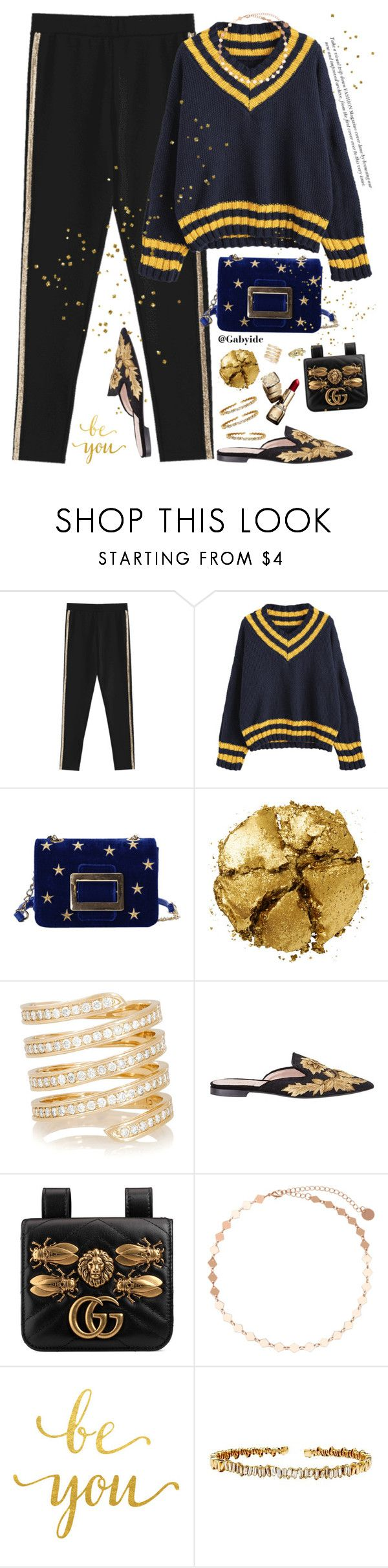 """""""Golden star✨"""" by gabyidc ❤ liked on Polyvore featuring Pat McGrath, Lynn Ban, Alberta Ferretti, Gucci, Guerlain, WALL, Suzanne Kalan and Bling Jewelry"""
