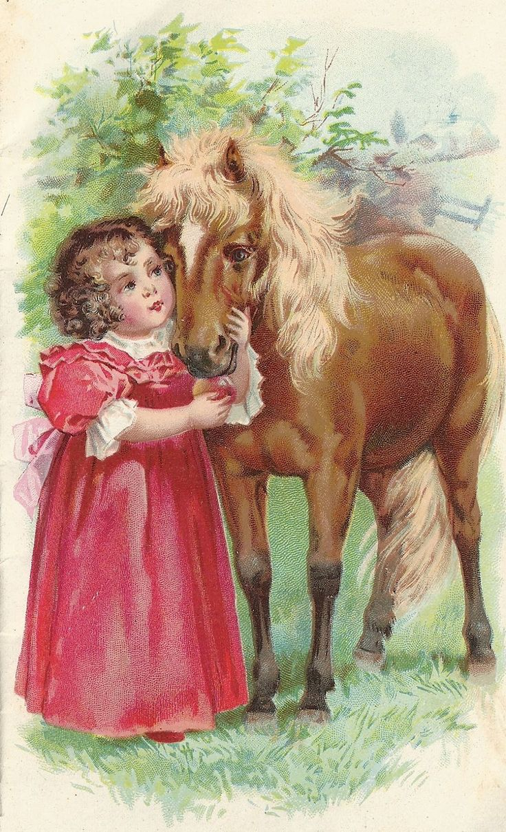 Pony and little girl in a pink dress.