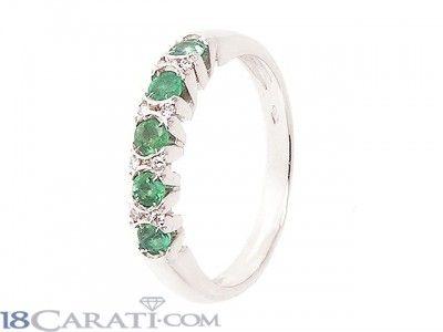 Anello smeraldo e diamanti 0.05ct