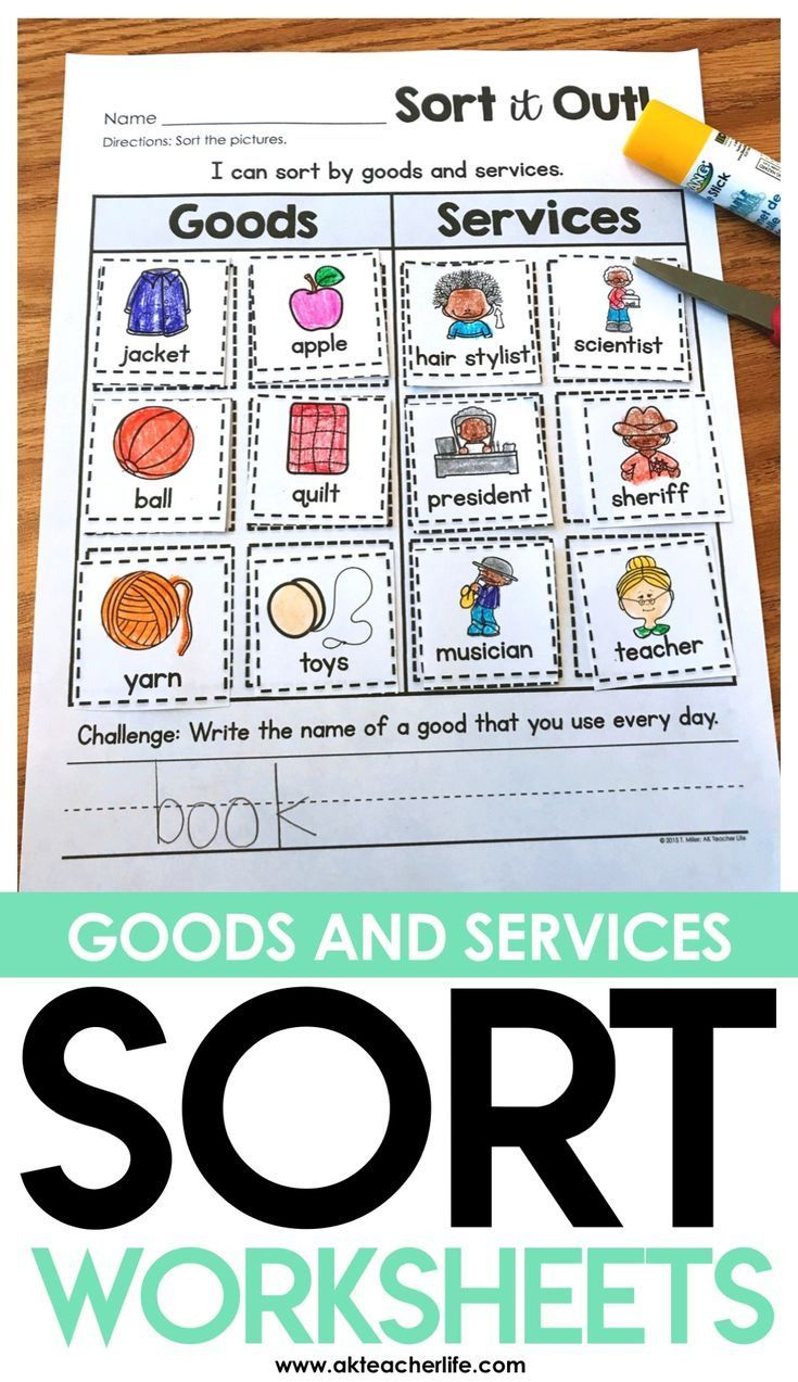 small resolution of Goods and Services Sort Worksheet - students sort the pictures by placing  them i…   Goods and services