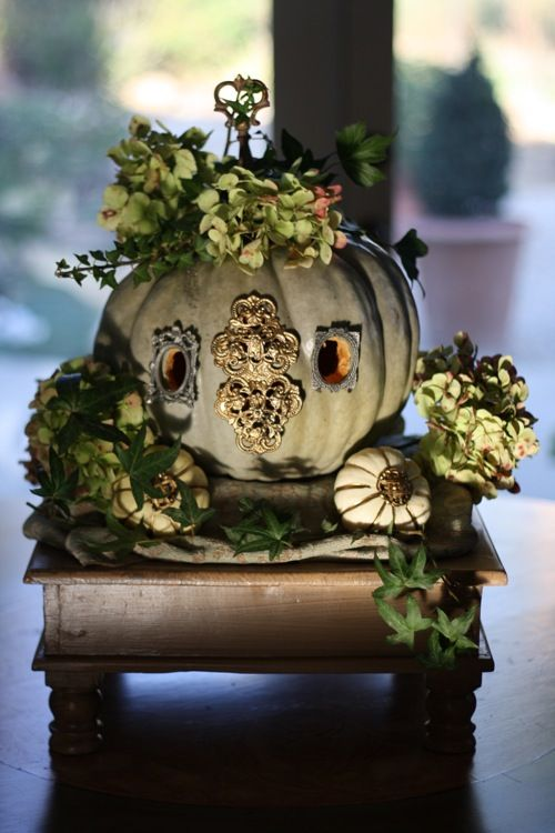 """Cinderella's pumpkin..I have green hydrangeas...we could look for architectural """"junk""""                                                                                                                                                     More"""