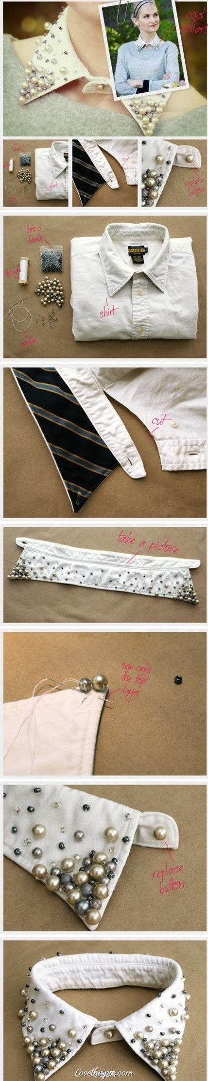 DIY fashionable shirt collar diy crafts craft ideas diy ideas diy clothes fun diy diy shirt diy fashion craft shirt