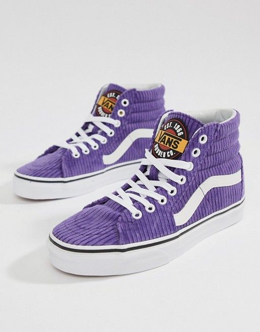 1b528b4e56 Vans Exclusive Purple Corduroy Sk8-Hi Sneakers in 2019