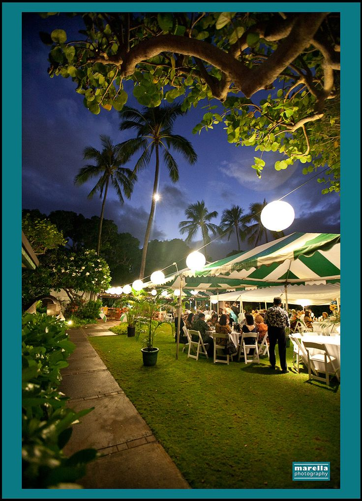 Pacific Club Wedding, Oahu, Hawaii. Tented reception.