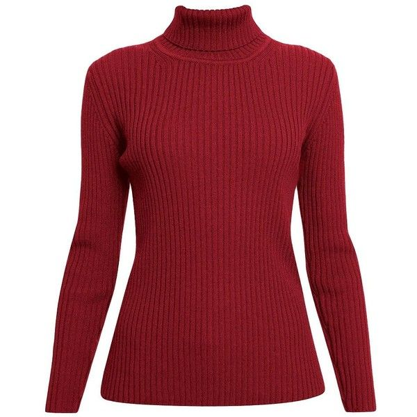Rumour London - Mia Red Ribbed Turtleneck Sweater (£115) ❤ liked on Polyvore featuring tops, sweaters, ribbed turtleneck sweaters, ribbed sweater, turtle neck ribbed top, red turtleneck and polo neck top