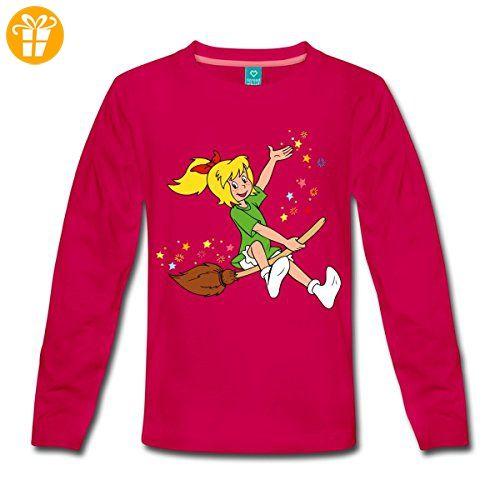 Bibi Blocksberg Fliegt Auf Hexenbesen Kartoffelbrei Kinder Premium Langarmshirt von Spreadshirt®, 134/140 (8 Jahre), dunkles Pink - T-Shirts mit Spruch   Lustige und coole T-Shirts   Funny T-Shirts (*Partner-Link)