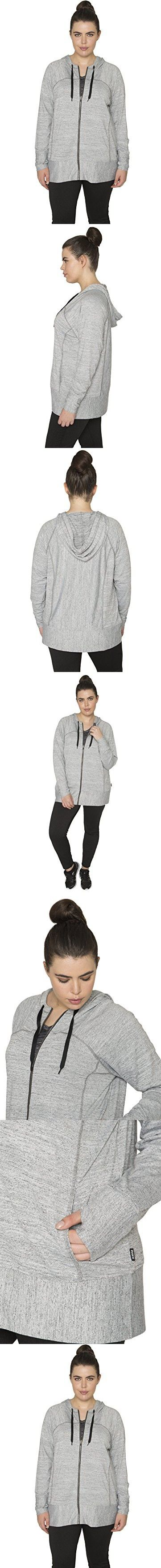RBX Active Plus Size Women's Lightweight Sweater Zip Hoodie Jacket with Contrast Trim