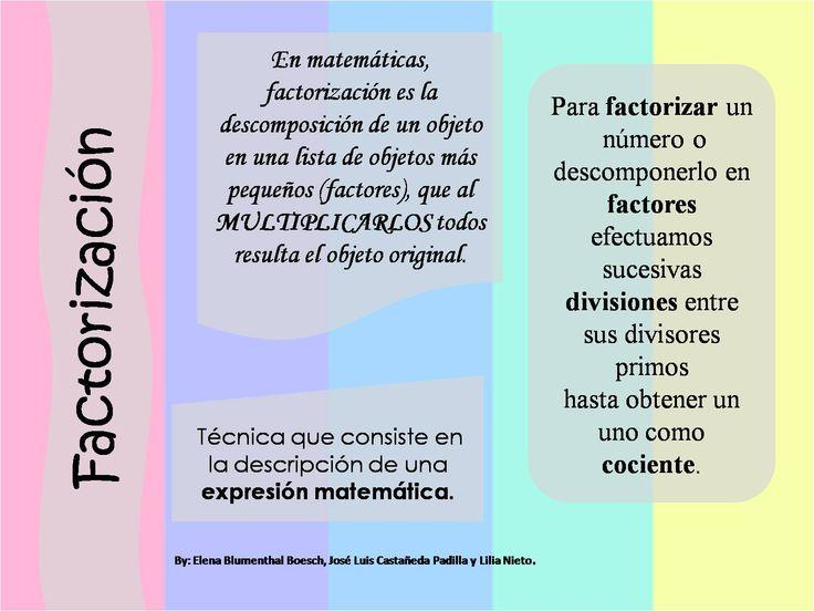 Factorización.Por Elena Blumenthal Boesch. Agradecimientos a Jose Luis Castañeda Padilla y Lilia Nieto.