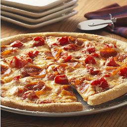 Parmesan flavored pizza crust recipe is topped with Hunt's Tomatoes, mozzarella, pepperoni and more Kraft Parmesan  Recipe from Kraft Foods.  Kraft and Oscar Mayer are brands of Kraft Foods Inc.