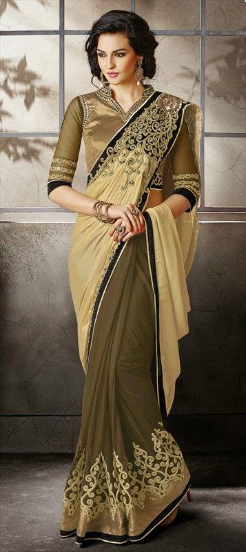 METALLIC GOLD - Order this partywear #saree at flat 15% off + free shipping.  #IndianWedding #Bridalwear #GoldColor