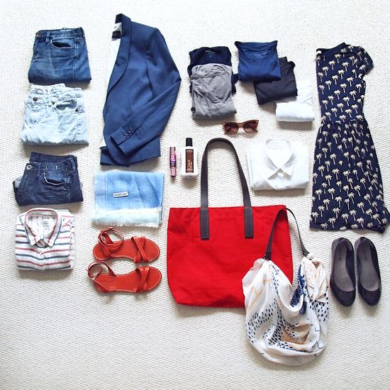 traveling light in summer with red, white and blue capsule wardrobe