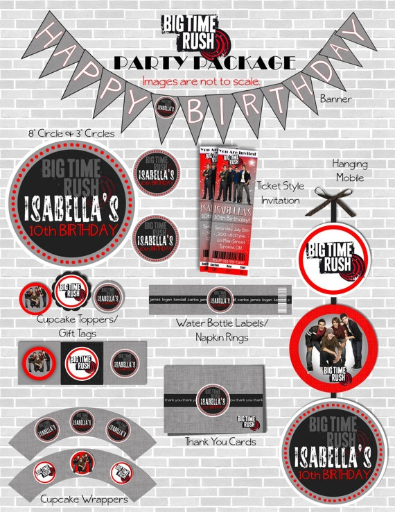BIG TIME RUSH Birthday Party Package Including Invitation - Customized with your party details and Printable. By sweete1976.