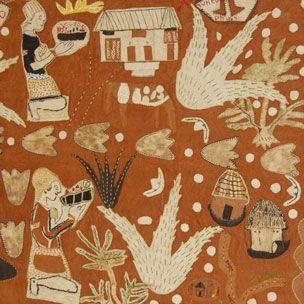 Embroidered bark cloth