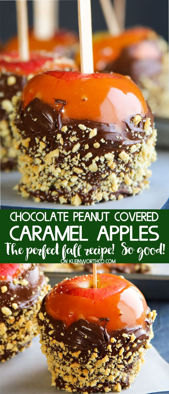 Chocolate Peanut Covered Caramel Apples with the best homemade caramel, chocolate & peanuts makes these the best fall dessert around. YUM caramel lovers. via @KleinworthCo