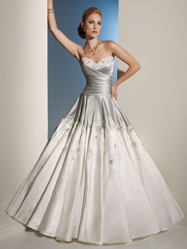 Silver and white draped bodice wedding dress wedding for Sheath wedding dress with beading and side drape