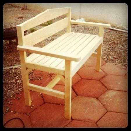 I want to make this!  DIY Furniture Plan from Ana-White.com  This is a great, deep bench to lounge on outside. I built it to the measurements of my love seat. If you're going to paint, it's easier to paint this before assembling.