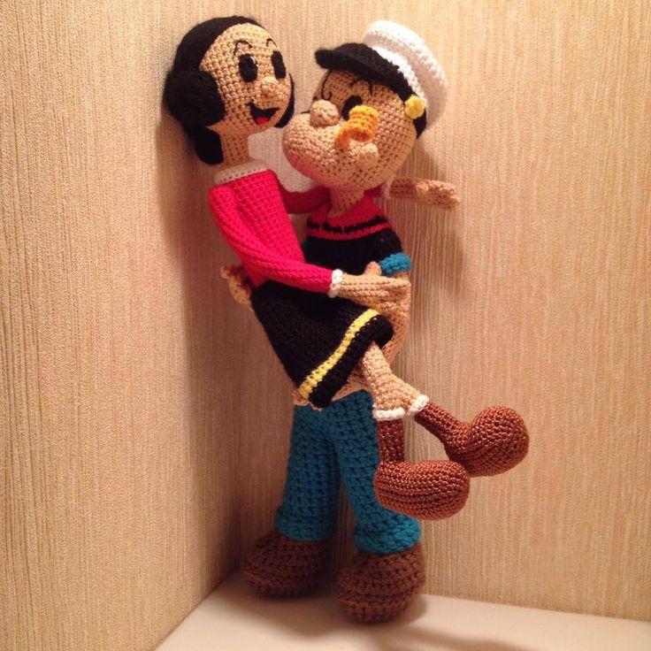 Crochet Pattern Popeye Doll : Popeye and Olive Oil. Amigurumi Pinterest Homemade ...