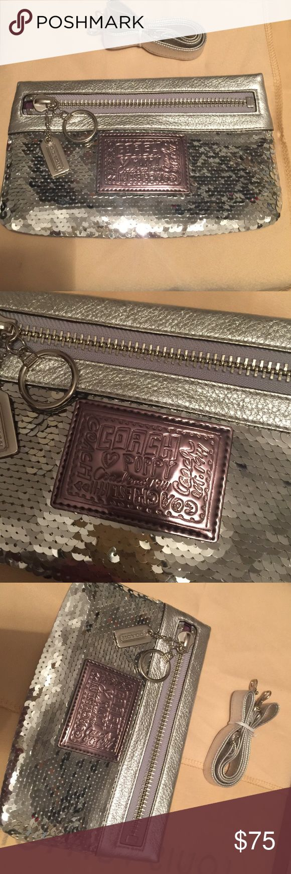 """Authentic Coach Clutch """"Poppy"""" Silver Sequins, should I say more? ⚙️ small clutch with long strap. To be honest, this bag was gift for special occasion. Never used, brand new w/o tags 💎 Coach Bags Mini Bags"""