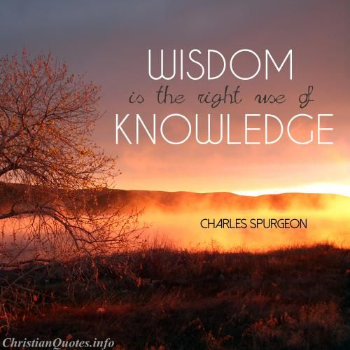 """""""Wisdom is the right use of knowledge. To know is not to be wise. Many men know a great deal, and are all the greater fools for it. There is no fool so great a fool as a knowing fool. But to know how to use knowledge is to have wisdom.""""  - Charles Spurgeon For more Christian and inspirational quotes, please visit www.ChristianQuotes.info #Christianquotes #Charles-Spurgeon"""