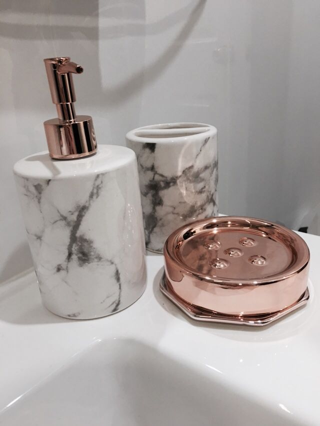 I chose items for the bathroom because they match the counters but the rose gold help it stand out.