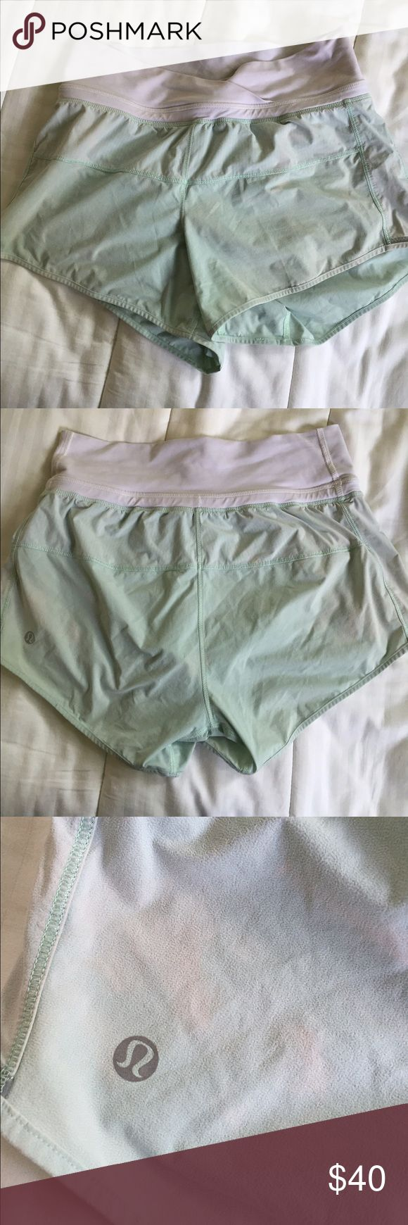 Lululemon pace setter aqua shorts Slight fading but in great condition lululemon athletica Shorts