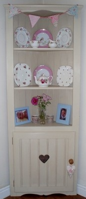 Shabby Chic Hand Painted Pine Country Farmhouse Corner Cupboard Cabinet