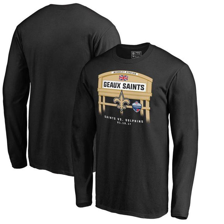 New Orleans Saints Fanatics Branded 2017 NFL London Game Long Sleeve T-Shirt - Black https://www.fanprint.com/licenses/new-orleans-saints?ref=5750