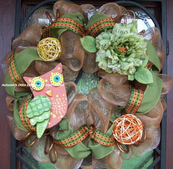 Fall Owl Burlap and Deco Mesh Wreath by myfriendbo on Etsy, $75.00