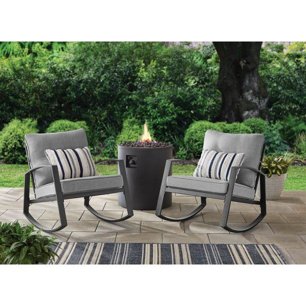Mainstays Asher Springs 2 Piece Steel Cushioned Rocking Chair Set Grey Walmart Com Rocking Chair Set Patio Rocking Chairs Outdoor Rocking Chairs